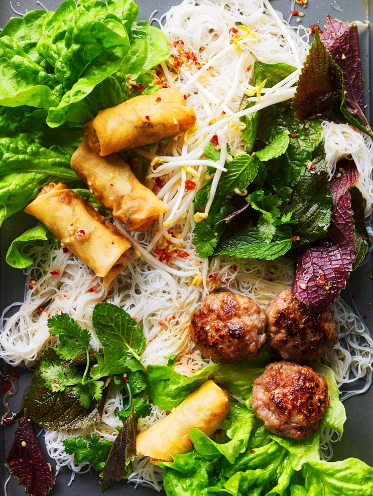 Grilled Pork And Spring Roll Noodle Salad Bun Cha Recipe