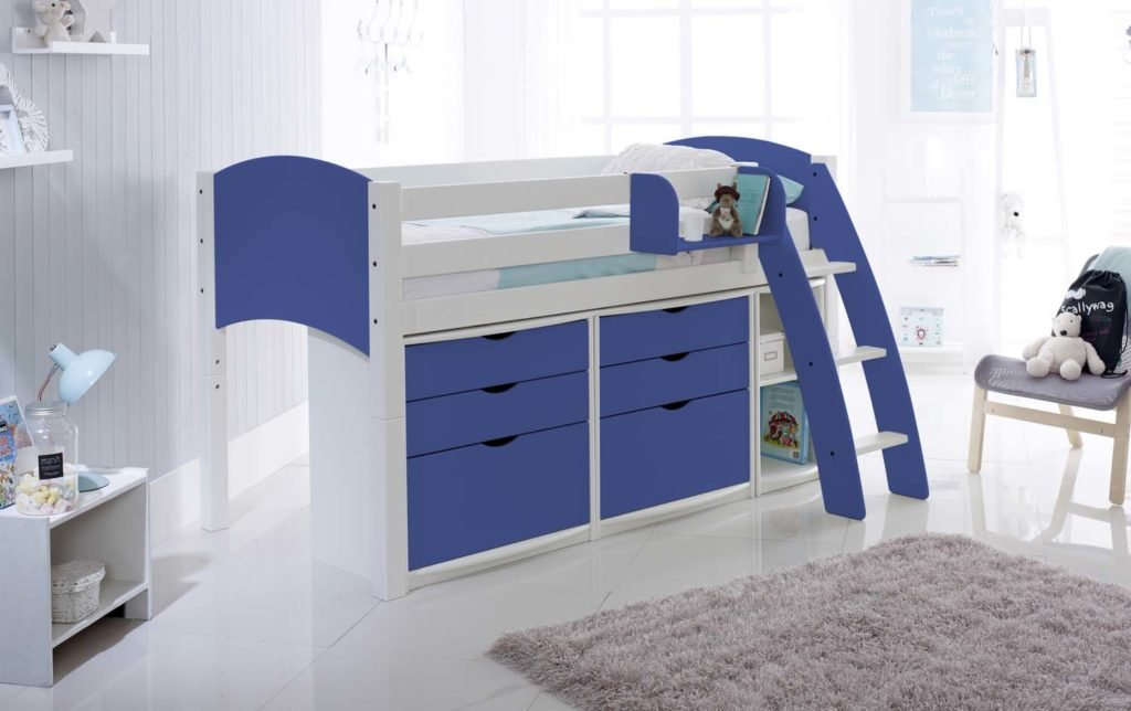 Mid Height Cabin Bed With Drawer Units And Shelf