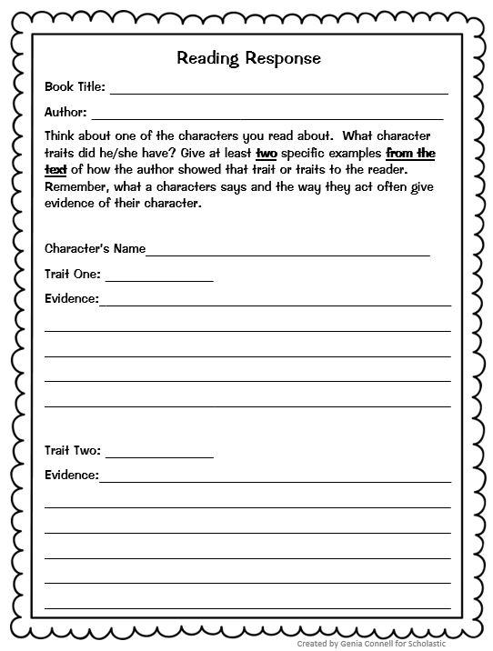Graphic Organizer Character High Trait School