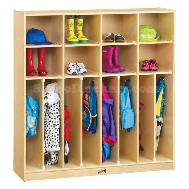 Kids 2-person Wooden Coat Lockers with Cubbies