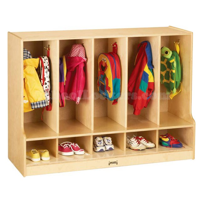 Toddler Wooden Coat Locker with Cubbies and Steps