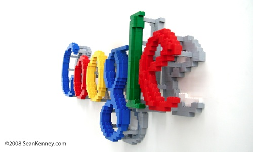 Sean Kenney   Art with LEGO bricks   Google logo  floating  Google LEGO logo