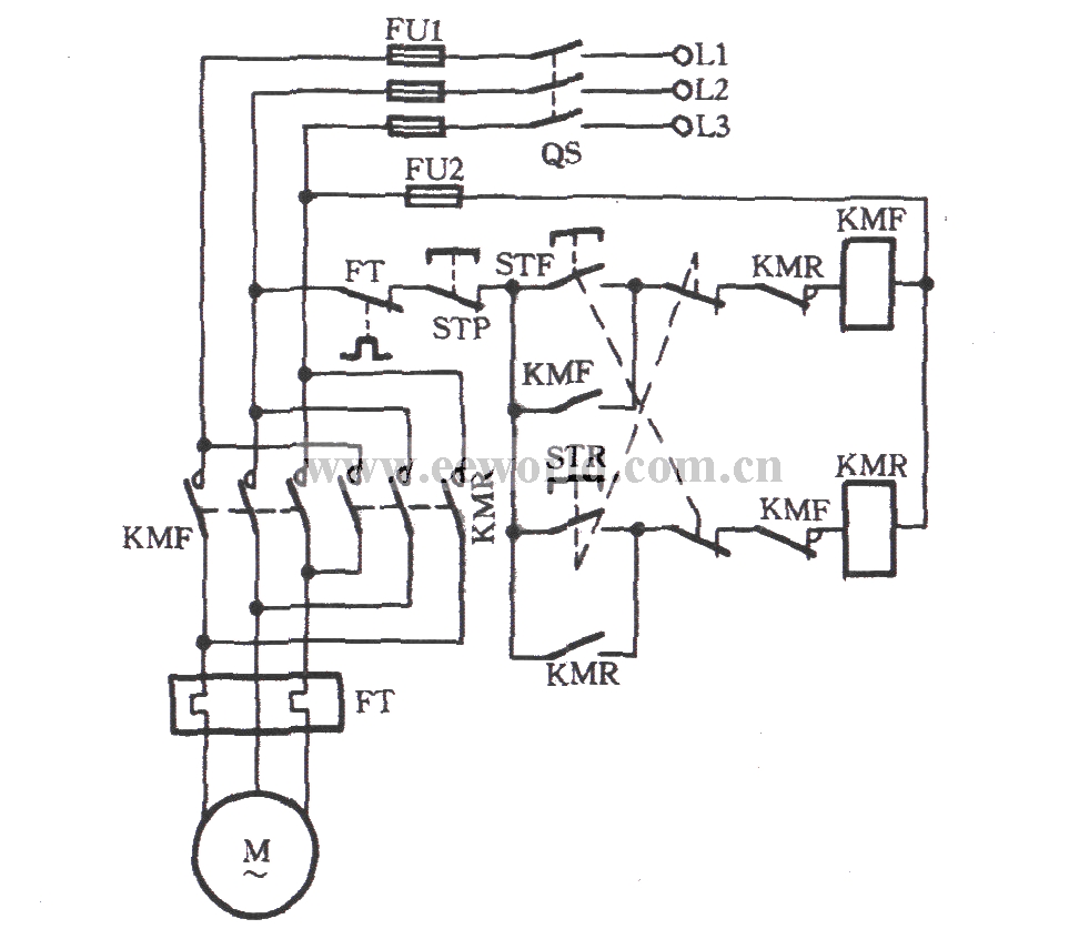 Three phase motor button and contactor dual interlock switching circuit