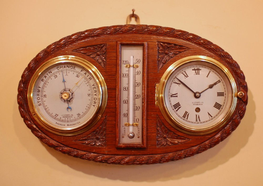 English Antique Wooden Barometer Wall Instrument Co