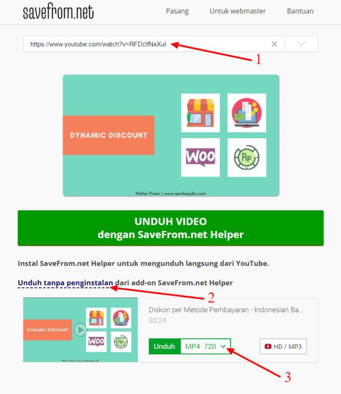 Cara Download Video Youtube Gratis tanpa internet download manager savefrom net
