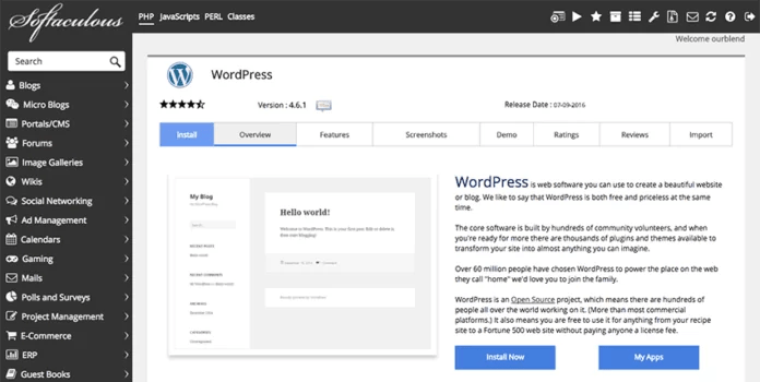 Membuat Resume Online wordpress - install wordpress - softaculous