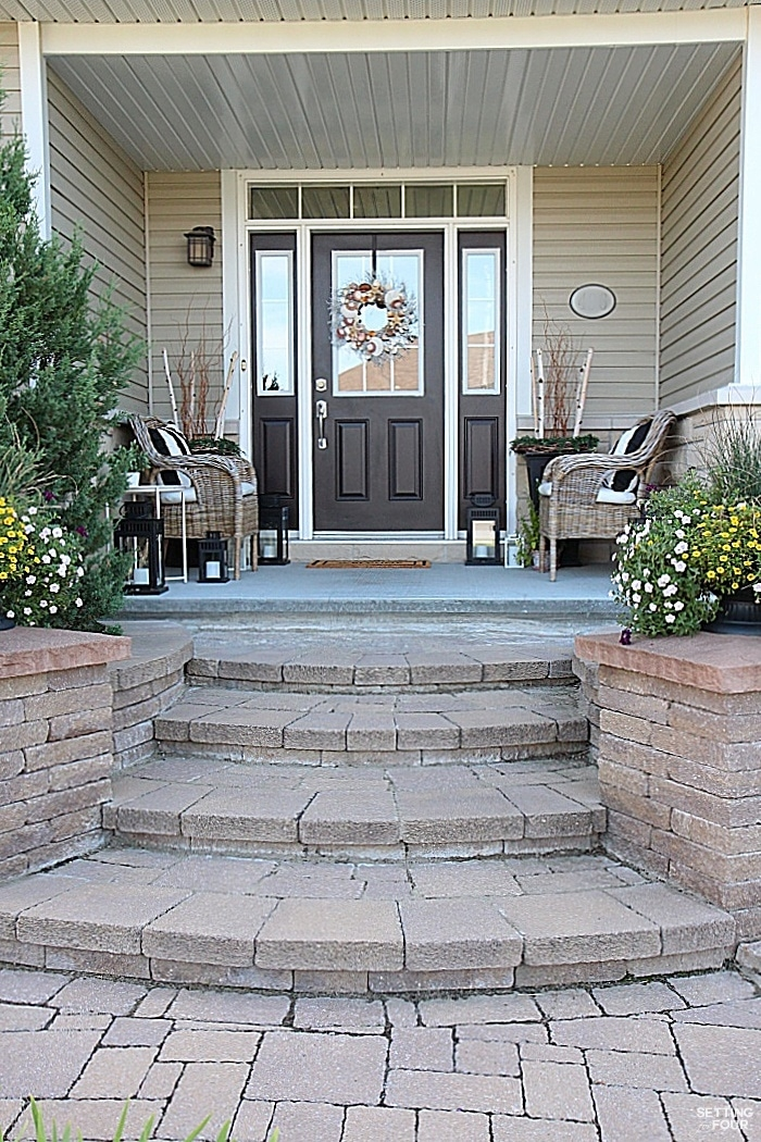 Curb Appeal Ideas And Porch Decor Tips Setting For Four | Stone Front Porch Steps Designs | House | Stained Concrete | Round | Stone Walkway | Flagstone