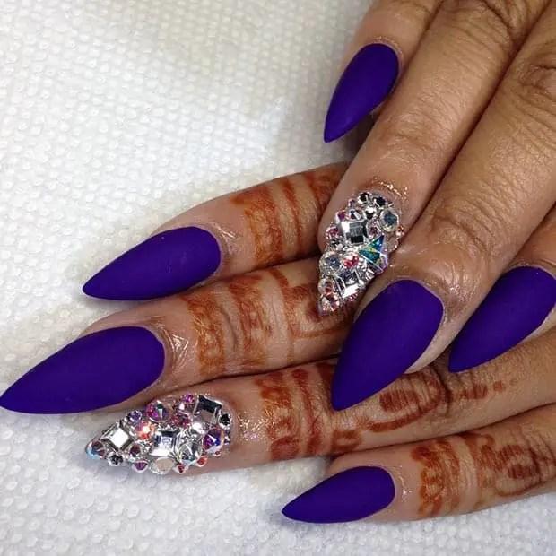 purple ombre coffin gel nails rhinestones