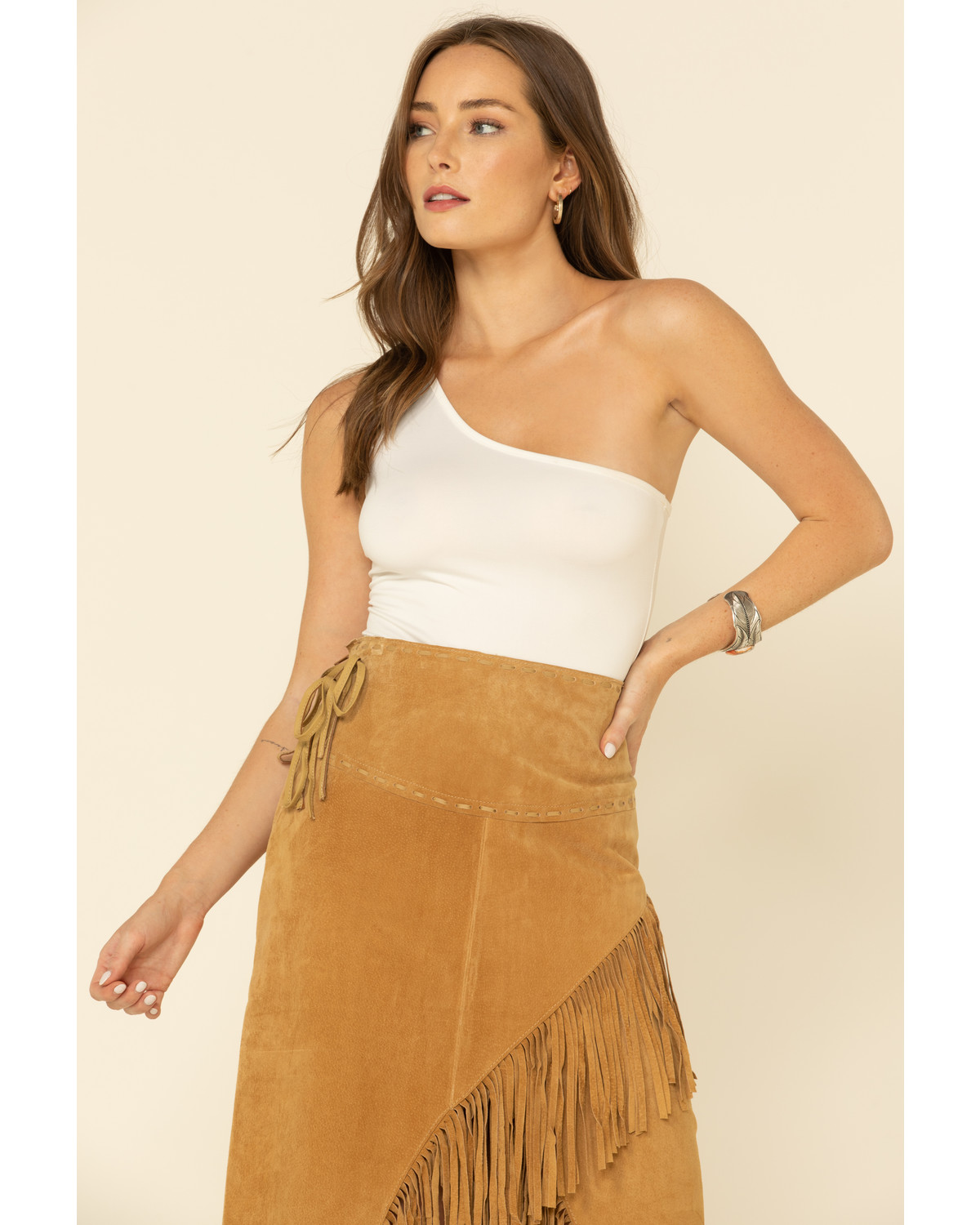 Scully Suede Leather Fringe Skirt Sheplers