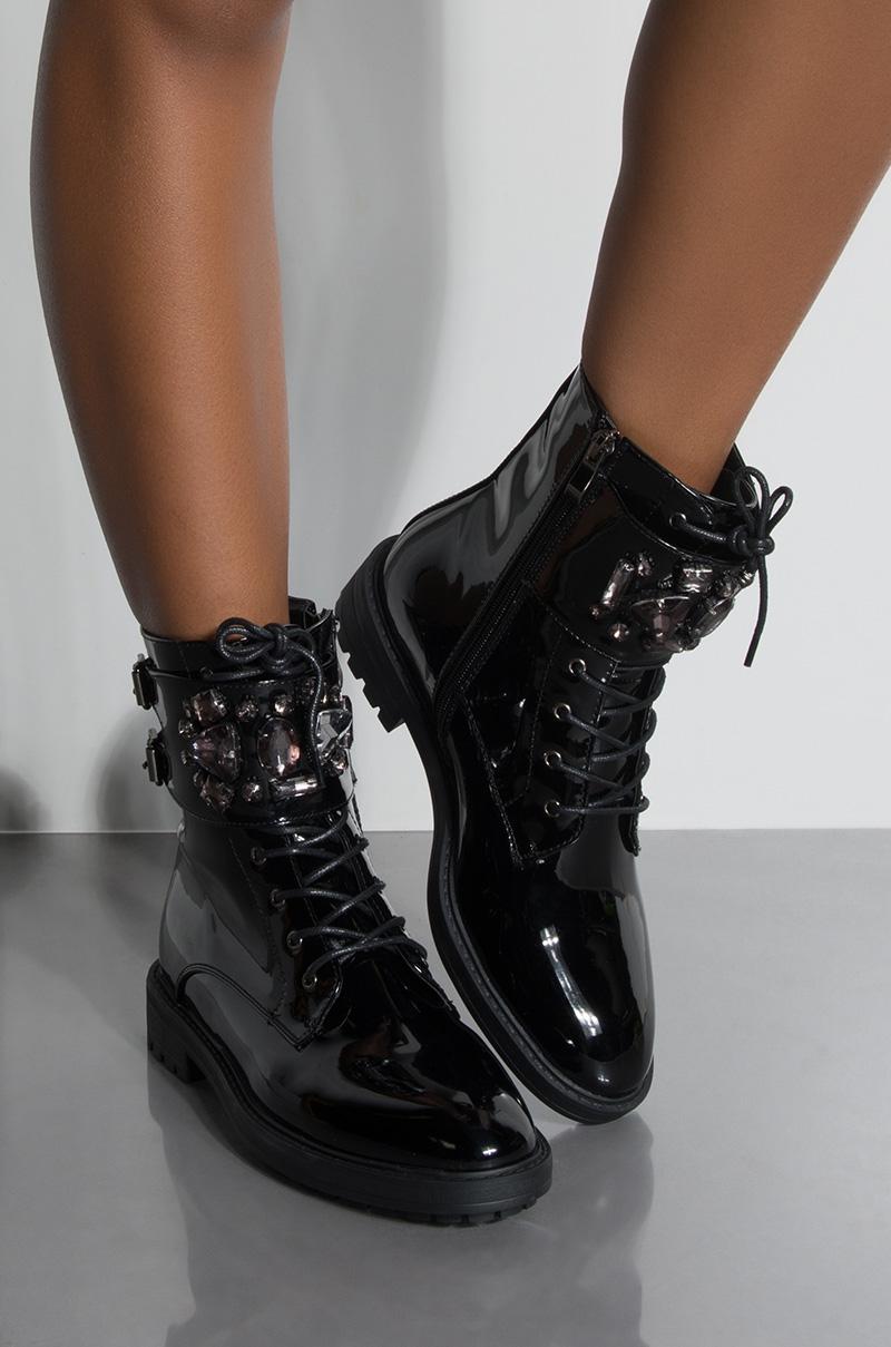 Azalea Wang Lace Up Jewel Embellished Patent Combat Boots