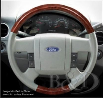 Ford F150 Replacement Leather And Wood Steering Wheel