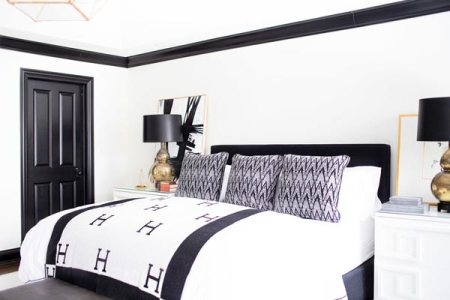 75 Stylish Black Bedroom Ideas and Photos   Shutterfly Give your bedroom a modern glam feel by decorating with a black and white  color scheme  Complete the look by using gold accents in your decor