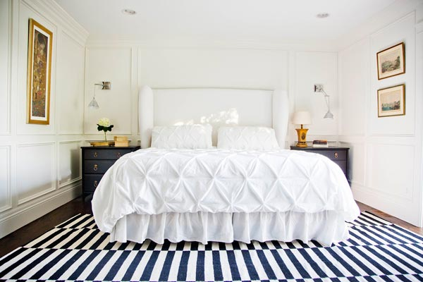 75 Creative White Bedroom Ideas   Photos   Shutterfly Make your floor the star of your white bedroom by decorating with a bright  striped rug  Pair the bold rug with a simple white bedspread