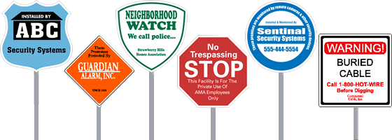 Custom Security Alarm Yard Signs