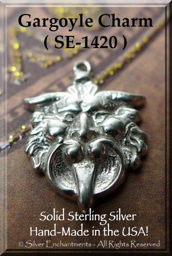 Sterling Silver Gargoyle Charm Medieval