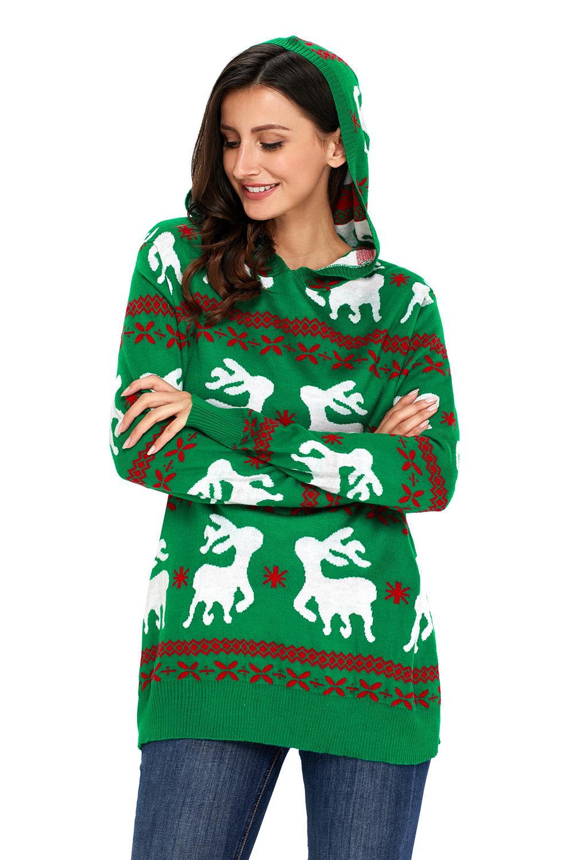 Cute christmas reindeer knit hooded sweater womens jumper ...
