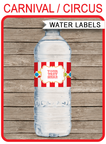 Carnival Party Water Bottle Labels Circus Party