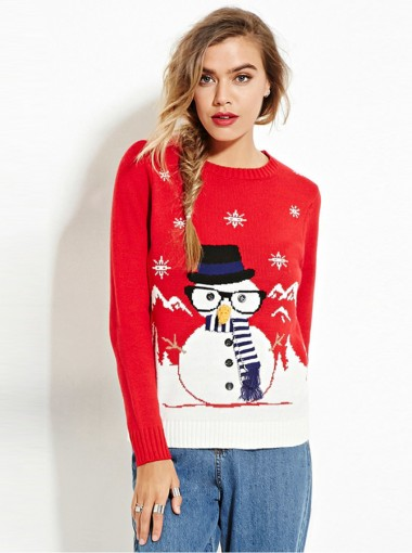 Red Crew Neck Long Sleeves Snowman Printed Cute Christmas ...