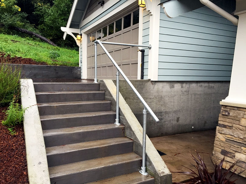 13 Outdoor Stair Railing Ideas That You Can Build Yourself   Outdoor Wood Stair Railing   Child   Stair Inside   Staircase   Natural Wood   Build In