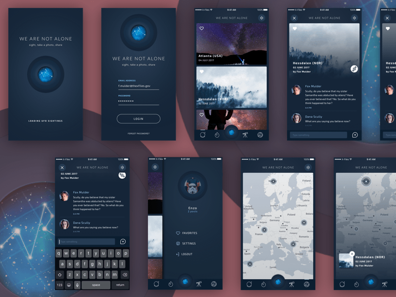 Mobile Wireframe Prototyping Templates GUI Kits free resources for     We Are Not Alone App Concept
