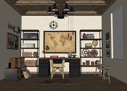 Free 3d Models Guys Room Working Room Vintage Style Amp Visopt By Alfonsus Sri Agseyoga