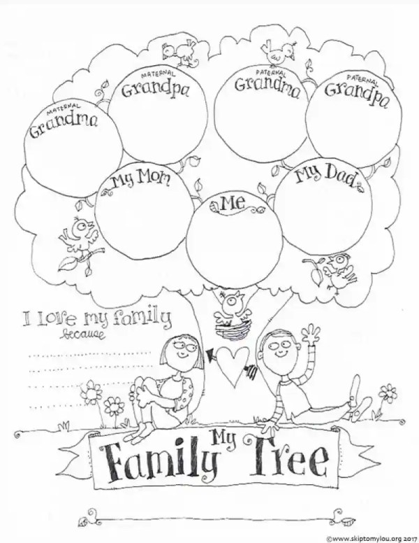 family tree coloring page # 7