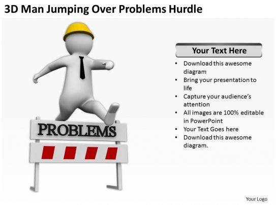 3d Man Jumping Over Problems Hurdle Ppt Graphics Icons
