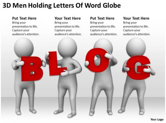 3d Men Holding Letters Of Word Blog Ppt Graphics Icons