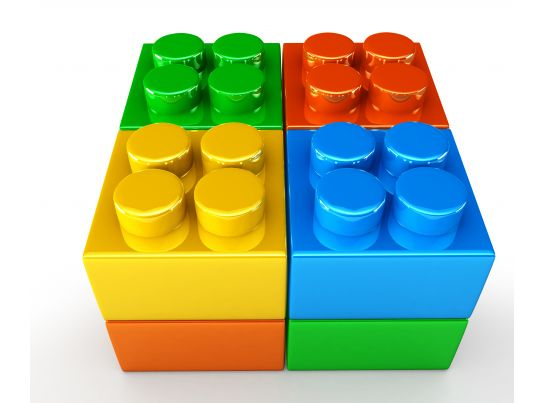 3d Square Cube Created By Colored Lego Blocks Stock Photo