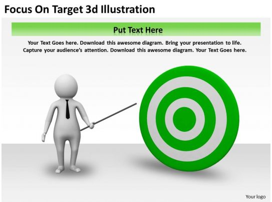 Focus On Target 3d Illustration Ppt Graphics Icons
