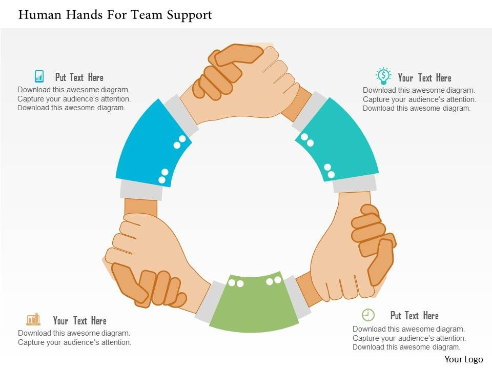 Human Hands For Team Support Flat Powerpoint Design