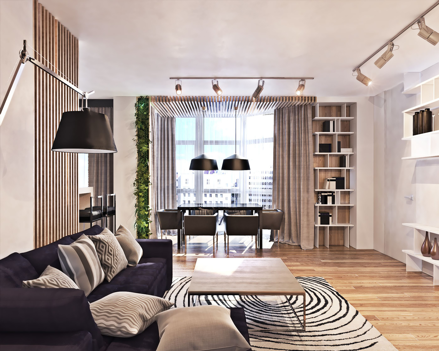 Contemporary Interior Design Style   Small Design Ideas Contemporary Interior Design Style  Bookshelves and focused lighting for  the modern space