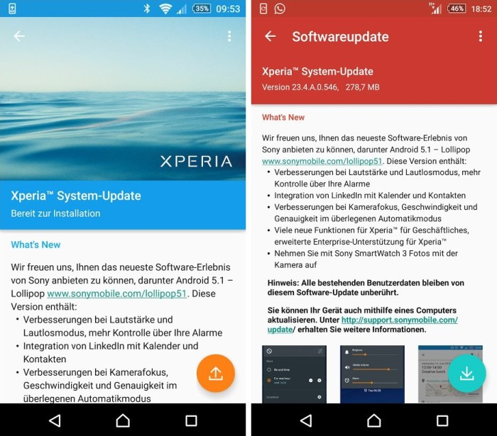 xperia z3 z2 android 5.1 update