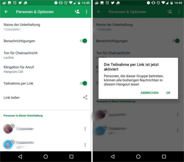 Hangouts 11 Einladungs-Links Screenshots