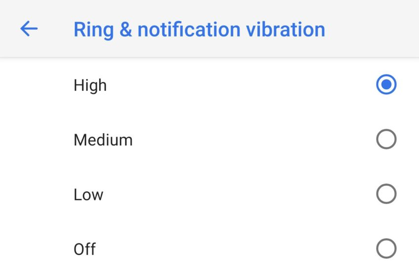 Android P Einstellungen Vibration