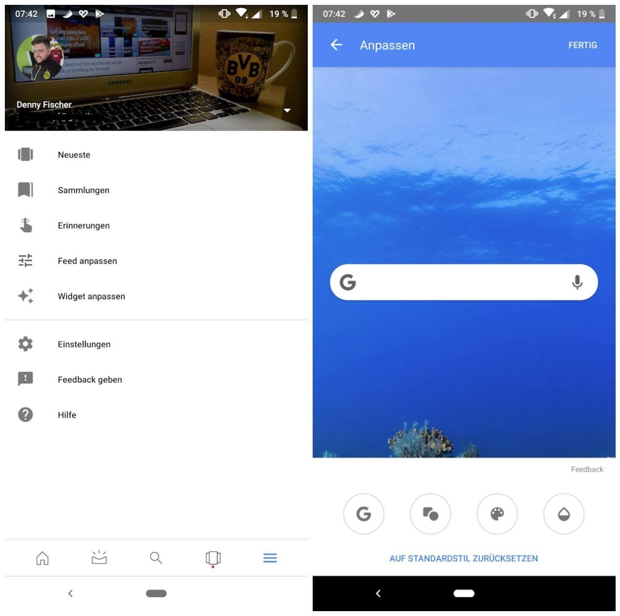 """widget anpassen"""" ist zurück: google-app hat option wieder"""