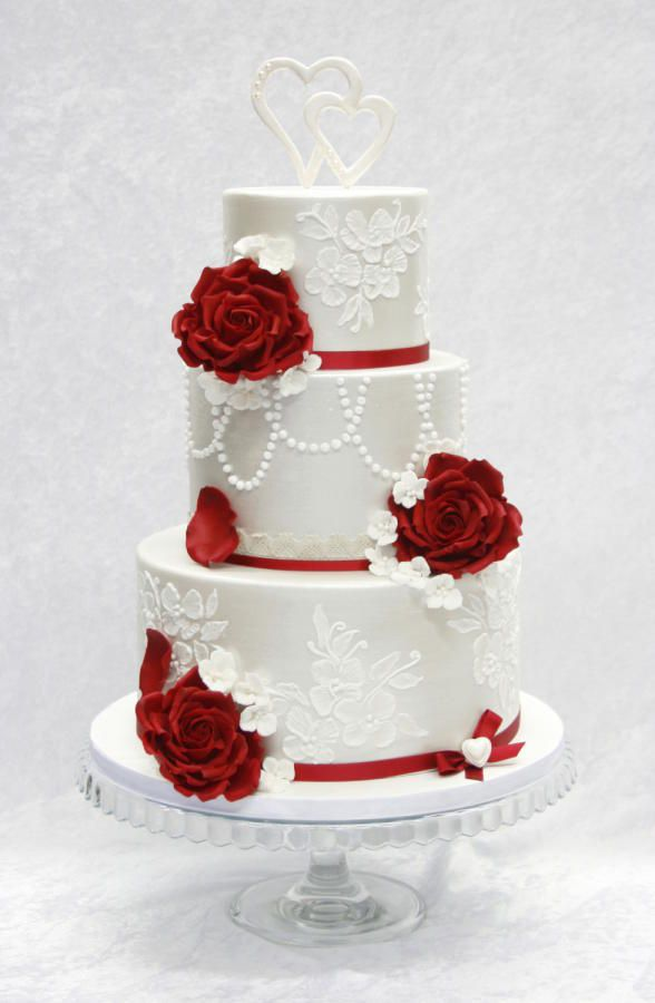 12 Rockabilly Red And White Wedding Cakes Photo   Red and Black     Red Wedding Cake