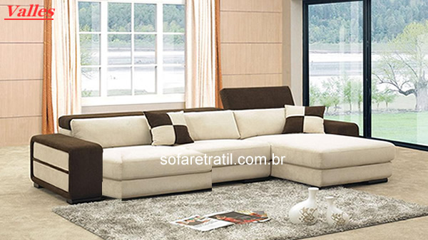 Sofa Chaise Retratil E Encosto Reclinavel