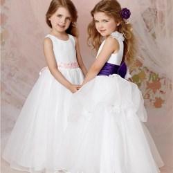 453a7b93dfc A Line Princess Scoop Floor Length White Organza Flower Girl Dress