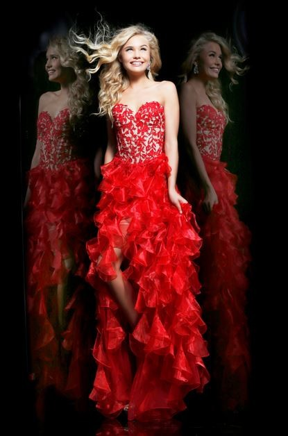 High Low Hem Sweetheart Short Front Long Back Red Lace Organza Ruffle Prom Dress
