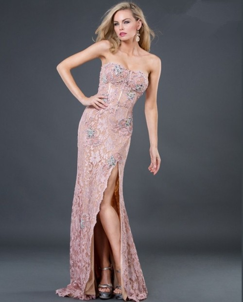 Sexy Sheath Sweetheart Long Pink Beading Lace Evening
