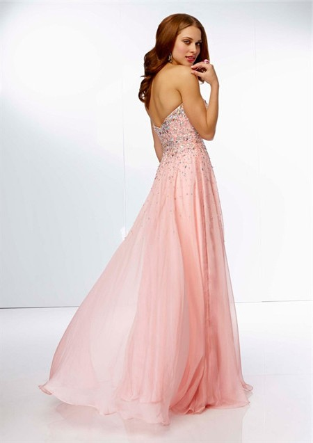 A Line Strapless Sweetheart Neckline Long Pink Chiffon Beaded Prom Dress     Stunning A Line Strapless Sweetheart Neckline Long Pink Chiffon Beaded  Prom Dress