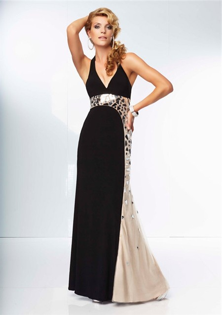 Unique Sheath Halter Backless Long Champagne Nude Black Chiffon Prom Dress Open Back