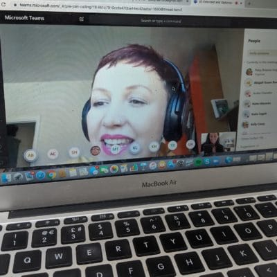 Tutor Kelly communicating with students via Microsoft Teams.