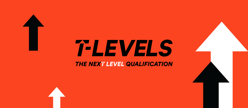 The t-levels logo orange background with the world t-levels and arrows