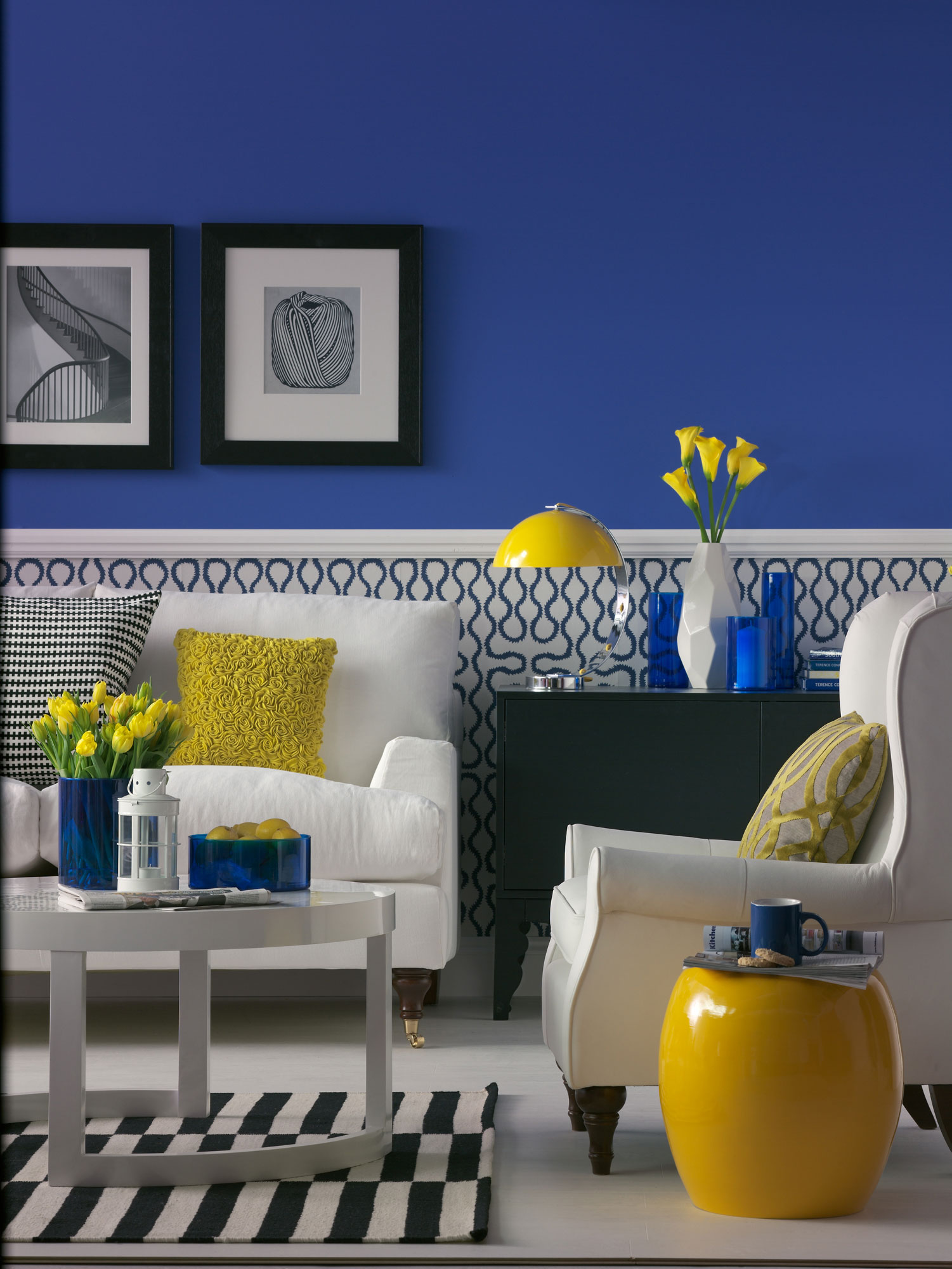 Room Yellow Blue And Gray Living