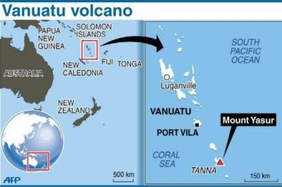 South Pacific: Vanuatu's Mount Yasur volcano spews ash ...