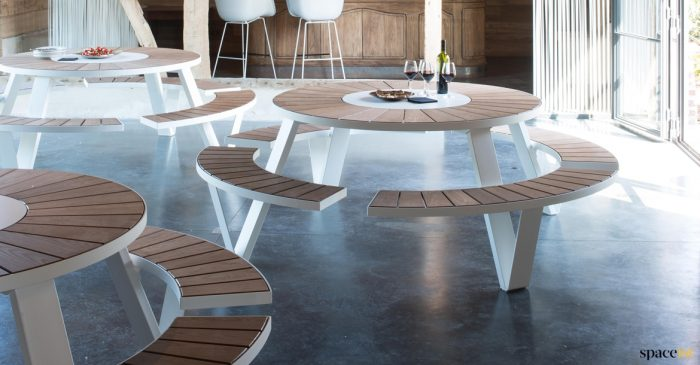 Large Round Canteen Tables Hard Wearing Designer