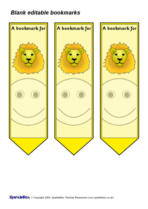 Editable Blank Bookmarks Sb1539 Sparklebox