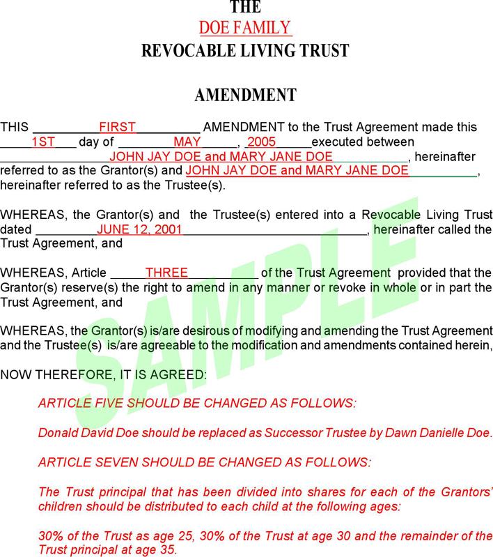 Comfortable Trust Amendment Form Photos - Resume Ideas - bayaar.info